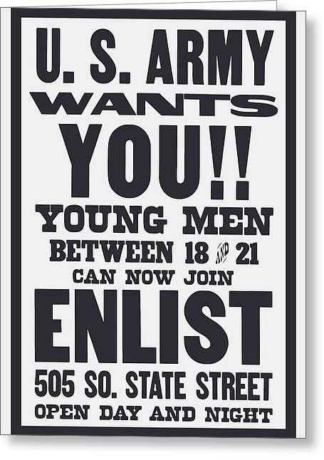 Us Army Wants You - Ww1 Greeting Card