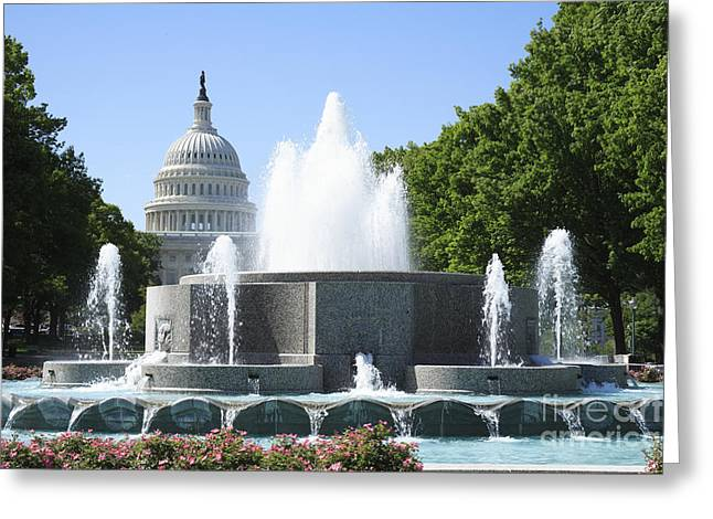 Us Capitol And Fountain In Washington Dc Greeting Card