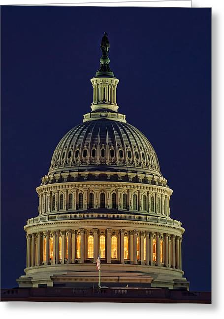 U.s. Capitol At Night Greeting Card