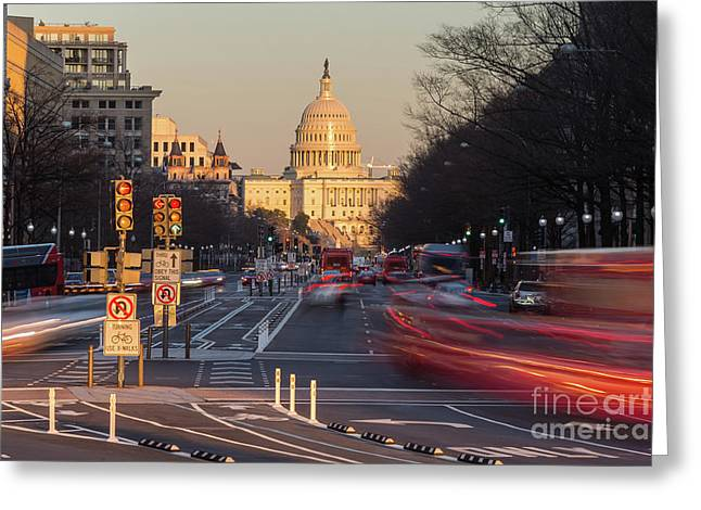 Us Capitol Building And Pennsylvania Avenue Traffic I Greeting Card