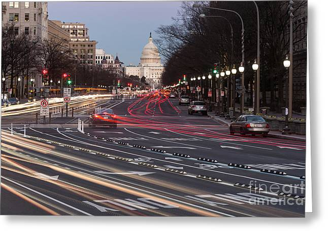 Us Capitol Building And Pennsylvania Avenue Traffic II Greeting Card