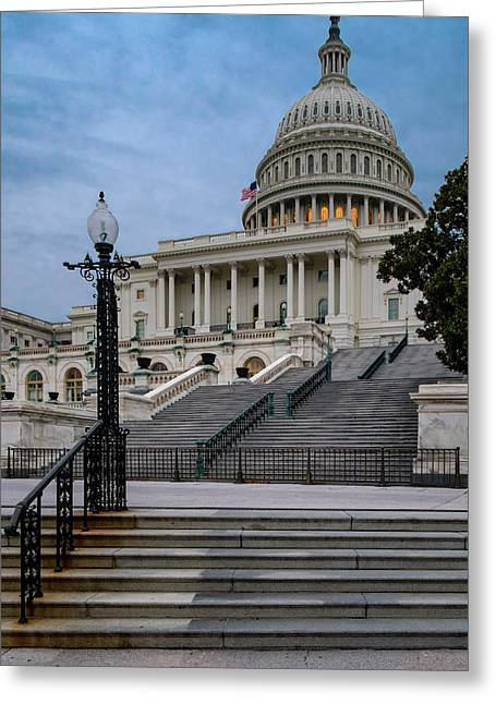 Greeting Card featuring the photograph Us Capitol Building Twilight by Susan Candelario
