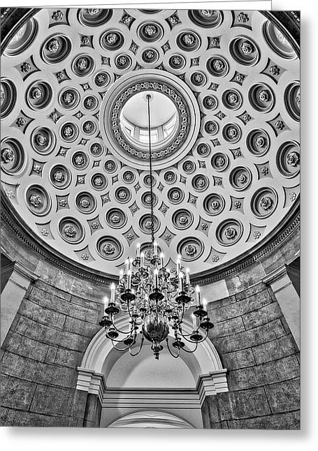 Greeting Card featuring the photograph Us Capitol Rotunda Washington Dc Bw by Susan Candelario