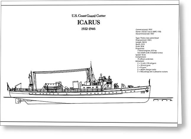 U.s. Coast Guard Cutter Icarus Greeting Card