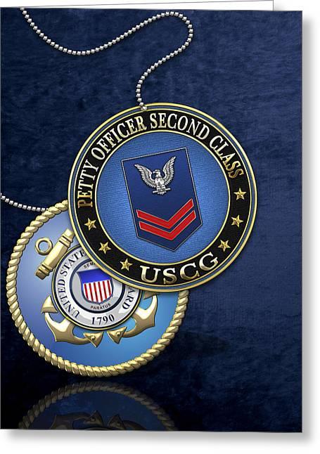 U.s. Coast Guard Petty Officer Second Class - Uscg Po2 Rank Insignia Over Blue Velvet Greeting Card