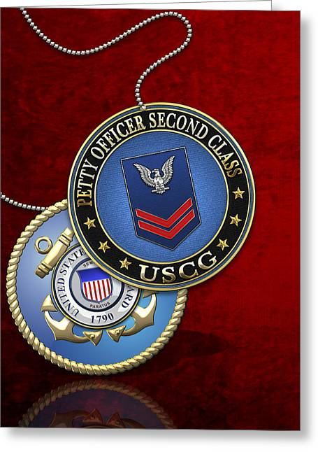 U.s. Coast Guard Petty Officer Second Class - Uscg Po2 Rank Insignia Over Red Velvet Greeting Card