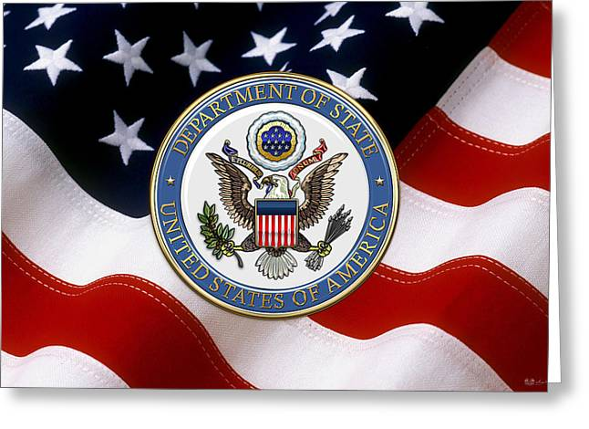 U. S. Department Of State - D O S Emblem Over American Flag Greeting Card by Serge Averbukh