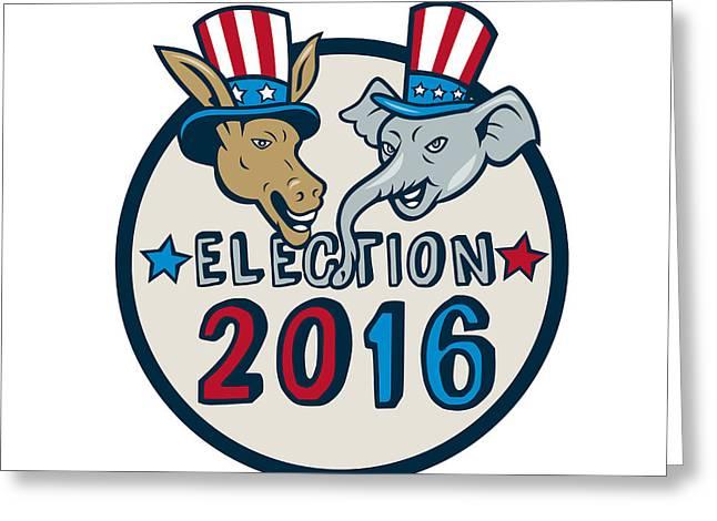Us Election 2016 Mascot Donkey Elephant Circle Cartoon Greeting Card