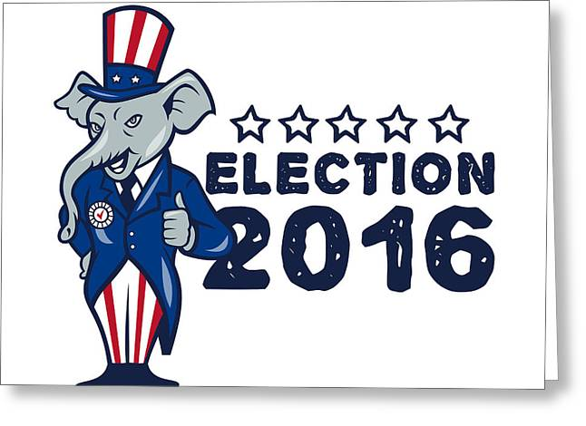 Us Election 2016 Republican Mascot Thumbs Up Cartoon Greeting Card