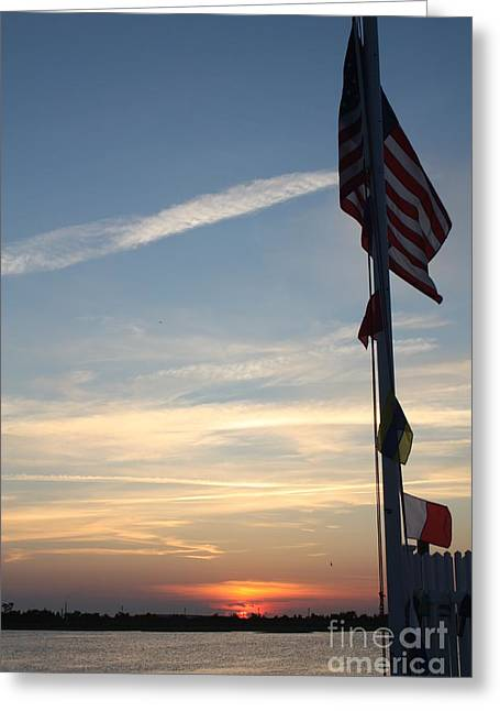 Us Flag At Sunset Greeting Card by John Telfer