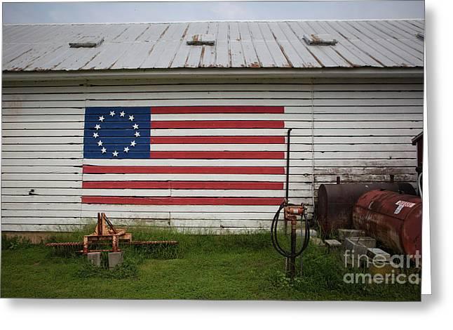 Us Flag Barn Greeting Card