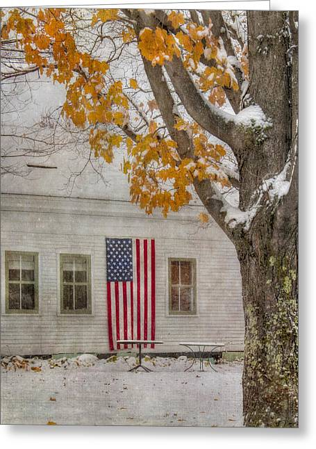 Us Flag In Autumn Snow Greeting Card by Joann Vitali