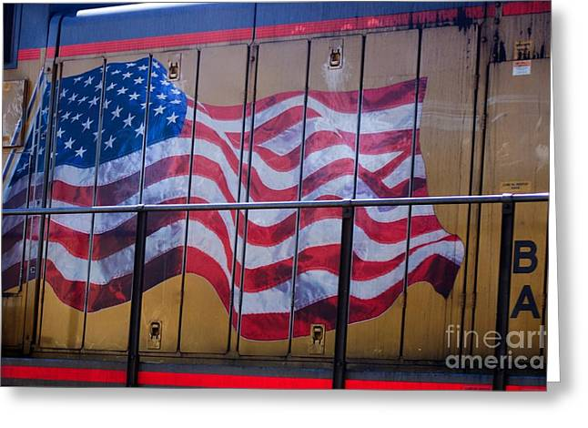 Us Flag On Side Of Freight Engine Greeting Card