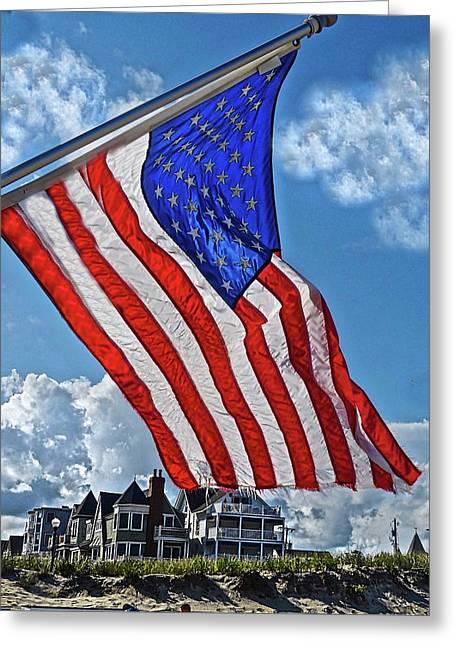 Us Flag,ocean Grove,nj Flag Greeting Card by Joan Reese