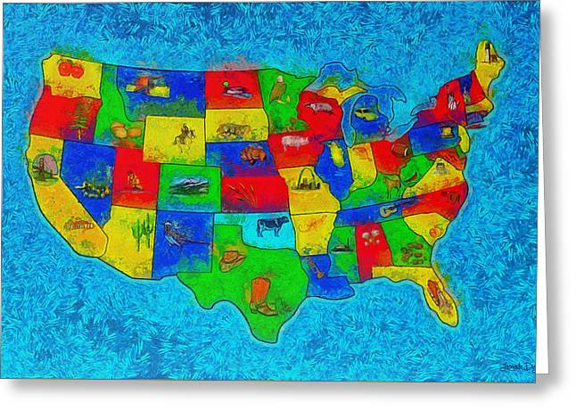 Us Map With Theme  - Special Finishing -  - Da Greeting Card by Leonardo Digenio