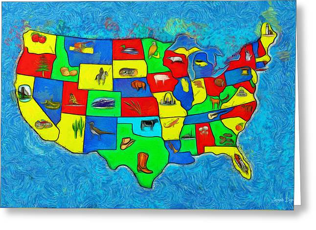 Us Map With Theme  - Van Gogh Style -  - Pa Greeting Card by Leonardo Digenio
