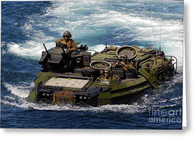 U.s. Marines Transit The Open Water Greeting Card by Stocktrek Images