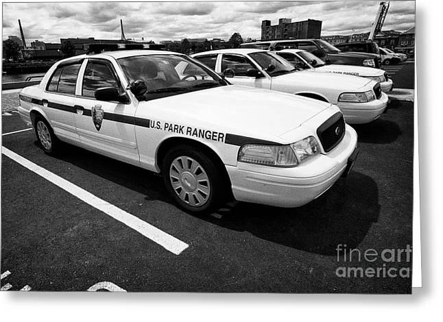 Us National Park Service U.s. Park Ranger Ford Crown Vic Vehicle Boston Usa Greeting Card