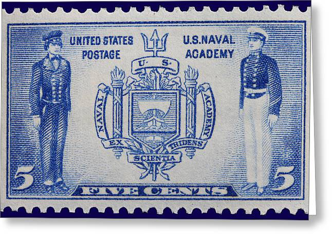 Us Naval Academy Postage Stamp Greeting Card by James Hill
