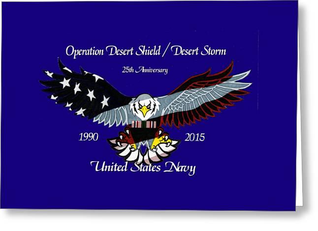 Us Navy Desert Storm Greeting Card by Bill Richards