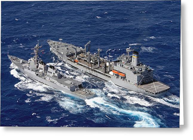 Refueling Greeting Cards - U.s. Navy Destroyer Uss Decatur Omes Greeting Card by Stocktrek Images