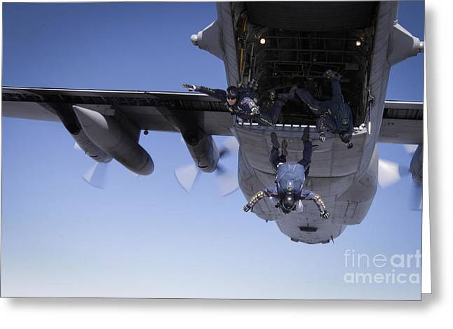 U.s. Navy Parachute Team, The Leap Greeting Card by Stocktrek Images