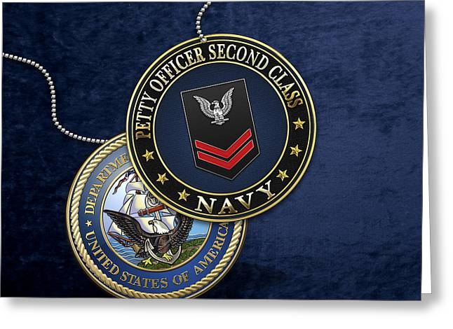 U.s. Navy Petty Officer Second Class - Po2 Rank Insignia Over Blue Velvet Greeting Card