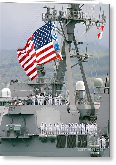 U.s. Navy Sailors Line The Rails Aboard Greeting Card