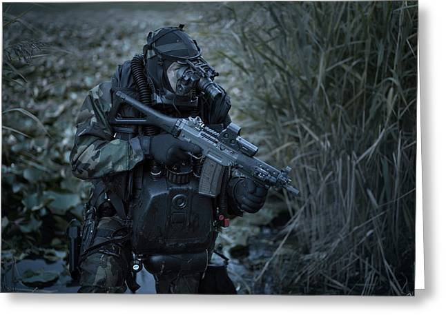 Jungle Warfare Greeting Cards - U.s. Navy Seal Equpped With Night Greeting Card by Tom Weber