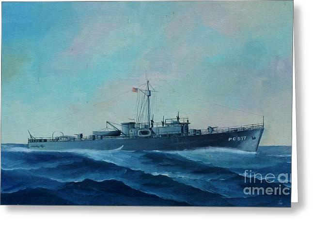 Us Navy Ship Pc577 Greeting Card by John Black