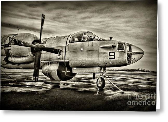 Us Navy Top Gun Aircraft In Black And White Greeting Card