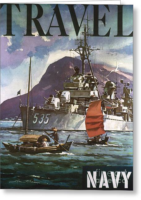 U.s. Navy Travel Poster Greeting Card by Granger