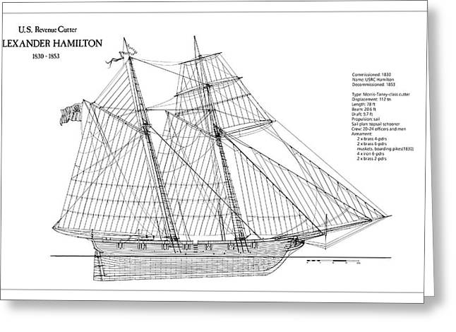 U.s. Revenue Cutter Alexander Hamilton Greeting Card