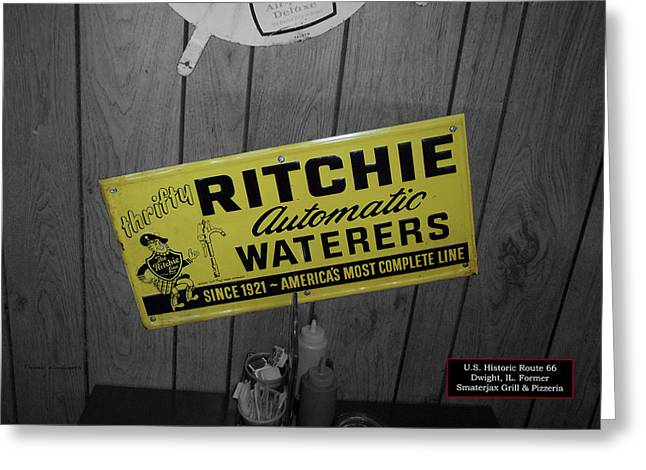 Us Route 66 Smaterjax Dwight Il Rare Waterers Signage Greeting Card