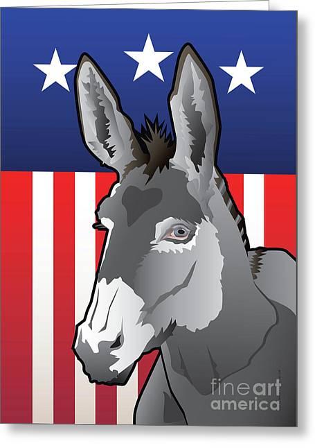 Usa Donkey Greeting Card by Joe Barsin