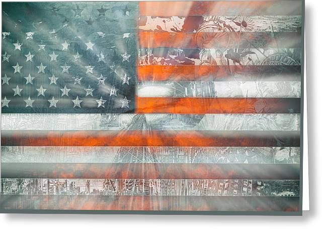 Usa Flag 10 Greeting Card by Bekim Art