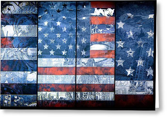 Usa Flag 11 Greeting Card by Bekim Art