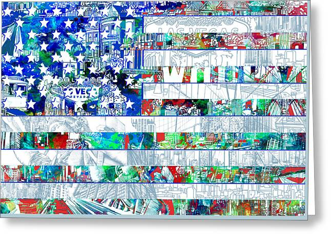 Usa Flag 14 Greeting Card by Bekim Art