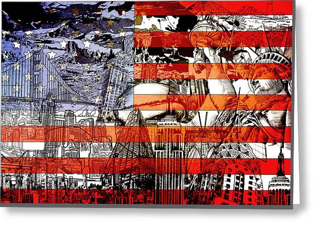 Usa Flag 3 Greeting Card by Bekim Art