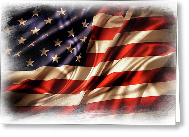 Usa Flag 7 Greeting Card by Les Cunliffe