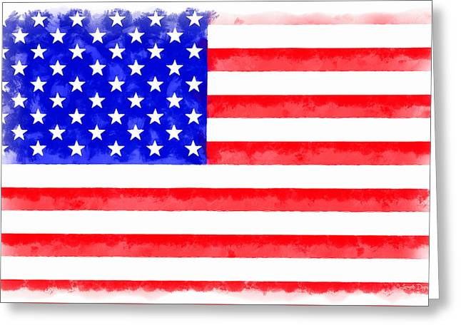 Usa Flag  - Aquarell Style -  - Da Greeting Card by Leonardo Digenio