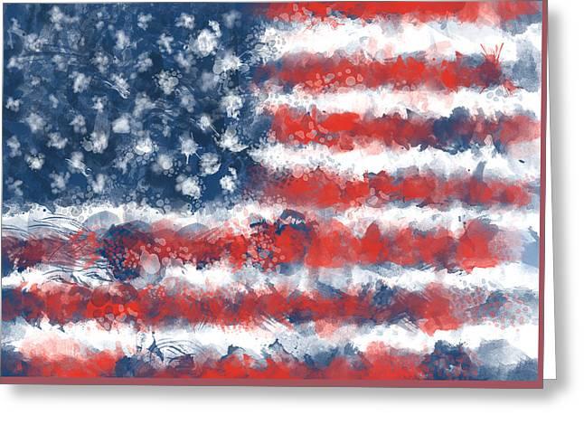 Usa Flag Brush Strokes Greeting Card by Bekim Art