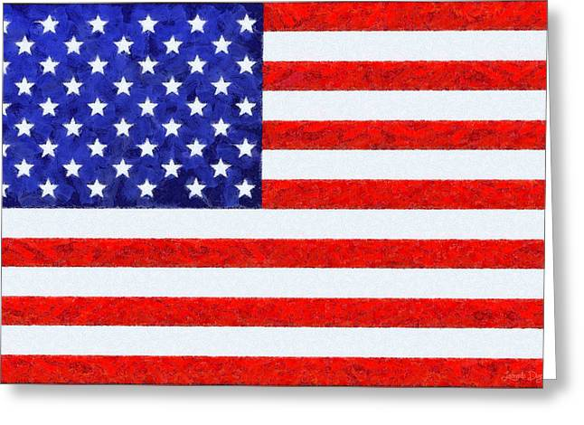 Usa Flag  - Camille Style -  - Pa Greeting Card by Leonardo Digenio