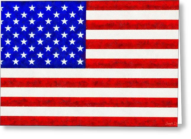 Usa Flag  - Fine Wax Style -  - Da Greeting Card by Leonardo Digenio