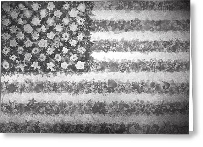 4th July Digital Greeting Cards - Usa flag floral 2 Greeting Card by MB Art factory
