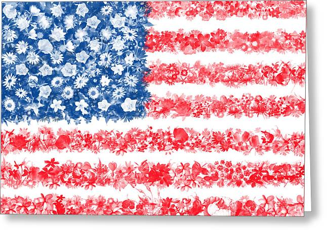 Usa Flag Floral Greeting Card by Bekim Art