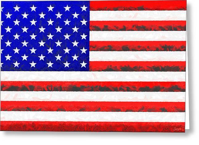 Usa Flag  - Free Colorful Style -  - Da Greeting Card by Leonardo Digenio