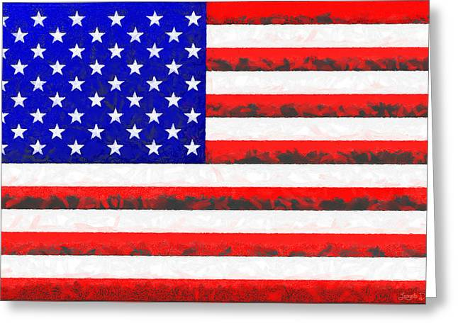 Usa Flag  - Free Colorful Style -  - Pa Greeting Card by Leonardo Digenio