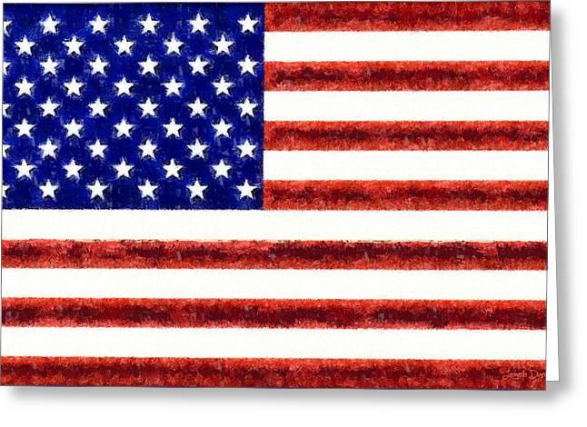 Usa Flag  - Free Style -  - Pa Greeting Card by Leonardo Digenio