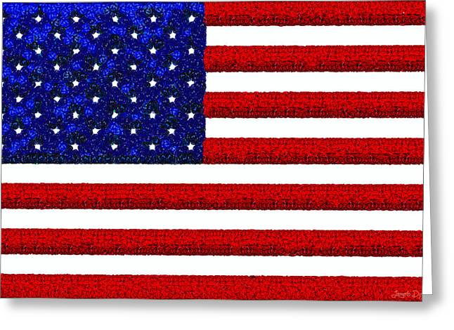 Usa Flag  - Gemstone Painting Style -  - Pa Greeting Card by Leonardo Digenio